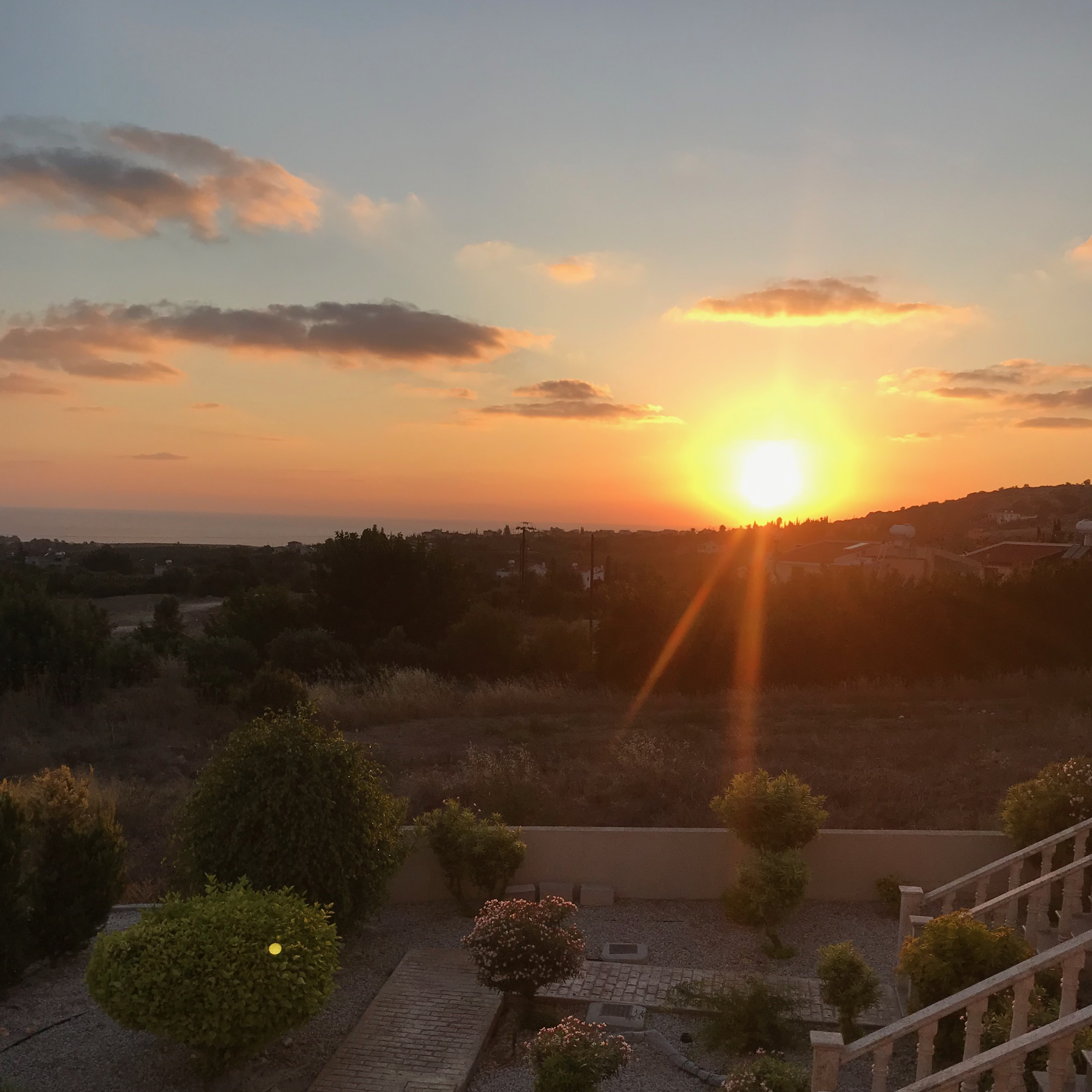 Cyprus apartment sunset from balcony